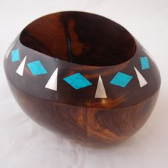 Ironwood Sterling Silver and Turquoise Bowl by Lawrence Favorite 5″ x 5.5″ x 7″ $950.00