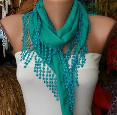 Teal Scarf    Pashmina Scarf   Headband Necklace Cowl by fatwoman, $13.50--Getting closer, but STILOL NOT GREEN