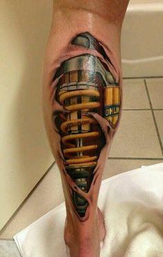 Biomechanical Calf (Leg) Tattoo.    http://vitalmx.com