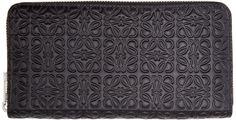 Loewe Black Leather Engraved Logo Wallet