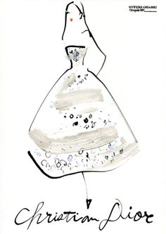 Christian Dior Fall 2012 Couture illustration by Miyuki Ohashi