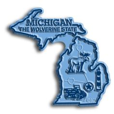 """Our Michigan Map Magnet measures approximately 3 square inches and has a thickness of 0.1"""""""". This Classic Michigan Map Magnet is perfect for any refrigerator or metal surface and makes a great gift or"""