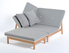 """The Luso Lounger by James Uren is the young designer's modern reinterpretation of the Chaise Longue Company's classic lounger. Re-inventing it to suit the way in which we live today, Uren adds a footstool which helps use the lounger in a number of ways (a day bed, lounger, chair, footstool), while Luso's unusual asymmetric form … Continue reading """"Luso Lounger by James Uren"""""""