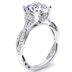 Simply Tacori Collection Fancy Twist Lace Design Pave Diamond Engagement Ring Diamond .21cttw (center Stone Not Included)