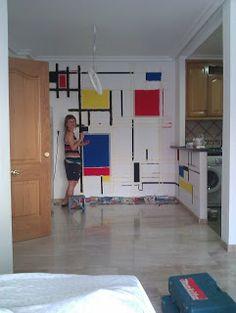 MANUALIDADES ESCOLARES: Mural Mondrian. Ecole Art, Style Deco, Piet Mondrian, Bauhaus, Art History, Ideas Para, Sweet Home, Loft, Living Room