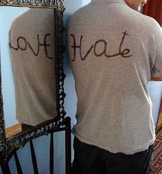 Double, Mirror, T-Shirt, Love/Hate,