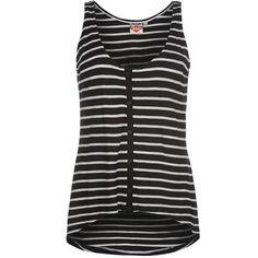 Lee Cooper | Lee Cooper Button Stripe Vest Ladies | Ladies vests