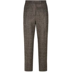 Brunello Cucinelli Sequin Embellished Tweed Cigarette Trousers (142.295 RUB) ❤ liked on Polyvore featuring pants, checkerboard pants, sequined pants, checkered pants, cigarette trousers and checked trousers