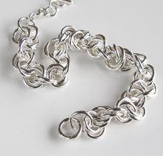 Handcrafted Double Link Chainmaille Bracelet Sterling Silver by DixSterling (has a mate - his & hers)