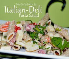 Italian-Deli Pasta Salad, a healthy pasta salad great for summer picnics!