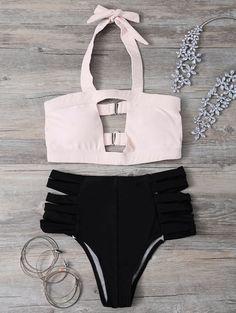 Hollow Out Bandage Halter Bikini Set - LIGHT PINK L