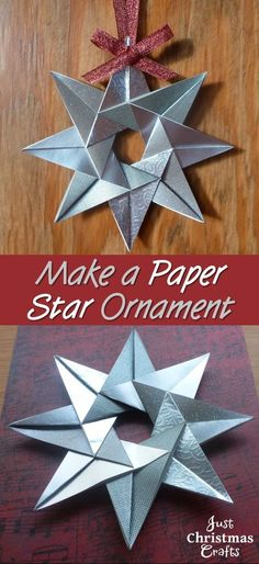 Instructions on how to make a Christmas star with paper. Turn it into a tree ornament or use as a handmade card embellishment. christmas star How to Make a Paper Star Ornament for Christmas Paper Christmas Ornaments, Christmas Origami, Noel Christmas, Handmade Christmas, Christmas Star Decorations, Christmas Crafts With Paper, Christmas Ideas, Christmas Gifts, 3d Origami Schwan