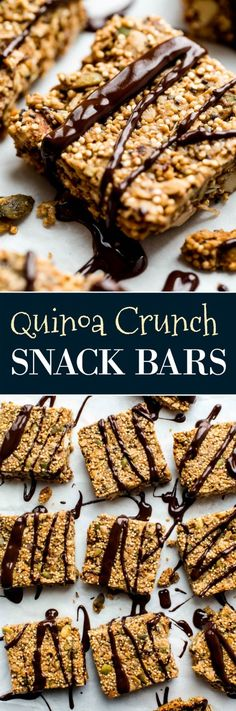 1 bowl chewy crunchy quinoa bars with dates, almond butter, and dark chocolate! Recipe on sallysbakingaddiction.com