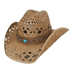 Bullhide Bean Me Up Straw Hat - This intricately cut western hat is made of Toyo straw and has a shapeable wire brim. Crafted with a carefully beaded hat band with beautiful center turquoise stone. Leather Cowboy Hats, Brown Cowboy Hat, Western Cowboy Hats, Cowgirl Hats, Western Wear, Cowgirl Style, Western Style, Cow Girl, Women's Dresses