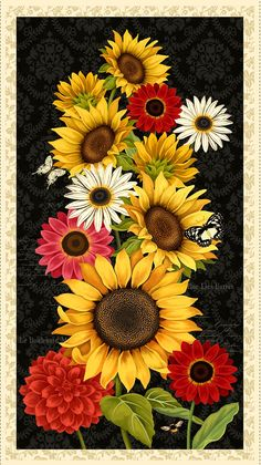 Multi Sunset Blooms Large Panel By Rowan, Anne - Cotton, Girl Wallpapers For Phone, Cute Wallpapers, Sunflower Quilts, Yellow Sunflower, Flower Phone Wallpaper, Fall Wallpaper, Cowgirl Pictures, Blackboard Drawing, Sunflower Pictures