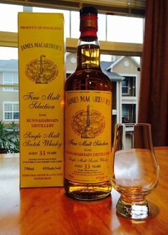 (A) James Macarthur's Fine Malt Selection - Bunnahabhain 33 years old (Islay, distilled 1980, bottled 2013): NOSE - cherries, pears, toffee, licorice essence, a hint of toffee and raw wood on the back end. PALATE - bright fruits, oak, vanilla, and floral flavors. FINISH - fruity and floral. Brightens with water. A very lush, sophisticated and complex whisky. Scotch Whiskey, Bourbon Whiskey, Bourbon Drinks, Single Malt Whisky, Raw Wood, Liquid Gold, Distillery, Whiskey Bottle, Goodies