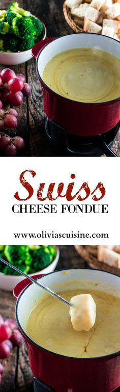 Swiss Cheese Fondue | http://www.oliviascuisine.com | Take date night to a whole new level with this classic Swiss Cheese Fondue. Because nothing says romance like sharing a pot of melted cheese!