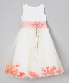 Gorgeous for a flower girl dress! Silver too! Zulily has inexpensive dresses and gowns. New styles and colors every day! Shoes, crowns, petal baskets, tuxedos for ring bearers. Everything your tiniest wedding party member might need. Ivory & Coral Pink Tulle Floral A-Line rose petal Dress - Infant, Toddler & Girls (also in yellow, purple, blue, aqua, green, and more!)