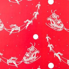 Santa's Sleigh Silhouette on Red Roll Wrap