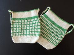 Set of Two Pot Holders Cream and Sugar Hand Crochet Green and Ivory