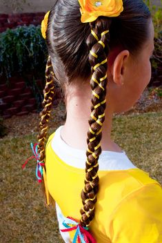 Ribbon braid   ... yellow ribbons to her hair for color and this is what we came up with