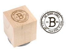 Vintage Palm Beach Wood Block Rubber Stamp