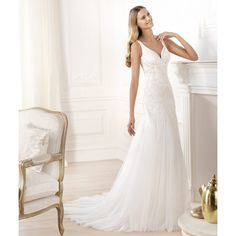 Mermaid Spaghetti Strap Sweep Train Beading wedding Dresses S3508 - White - A-line - Tulle