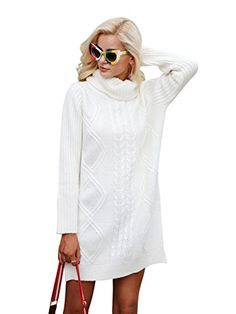 Simplee Womens Winter Warm Oversized Turtleneck Long Pullover Sweater Dress Cream One Size >>> Check out this great product. Long Sweaters, Pullover Sweaters, Sweaters For Women, Jumper, Sweatshirt, Cute Sweater Dresses, Long Sleeve Sweater Dress, Mens Fashion Wear, Fashion Women