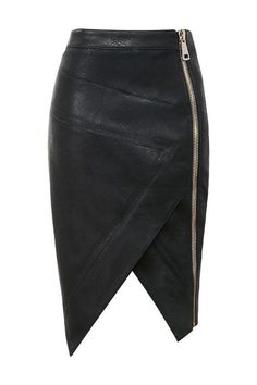 'Floria' is crafted from butter-soft stretch vegan leather in beautiful black. Cut asymmetrically over the knee and showcasing on-trend oversized zippers to the side hip, 'Floria' is your perfect vegan leather skirt. Made from stretch vegan leather. Look Fashion, Fashion Models, Womens Fashion, Fashion Design, Petite Fashion, Curvy Fashion, Fashion Bloggers, Winter Fashion, Fashion Trends