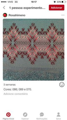 Mari Carmen Gomez Cortes's media statistics and analytics Swedish Embroidery, Hand Embroidery, Swedish Weaving Patterns, Monks Cloth, Embroidery Stitches Tutorial, Cross Stitch Bookmarks, Crochet Baby Clothes, Bargello, Yarn Projects