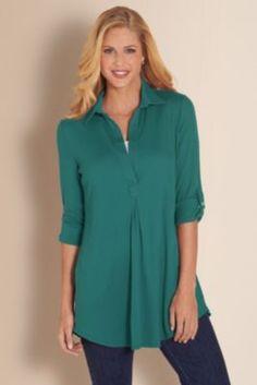 Toujours Tunic Ii - Tunic Top, Cotton Tunic, Pima Cotton Tunic, Flattering Tunic   Soft Surroundings
