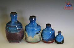 Bottle Set  Multicolor Blues by MudbugCreations on Etsy