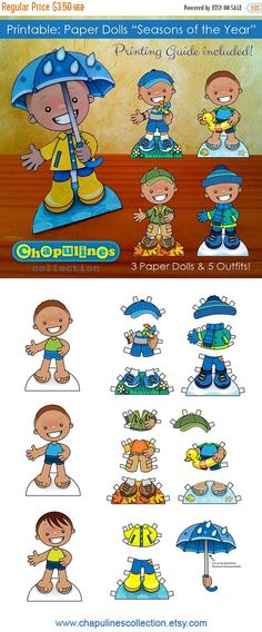 Paper Dolls - Seasons of the Year - Boys - Full Color  Printable PDFs Zip file instant download.    The set includes these printable PDF
