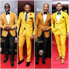 The AfroFusion Spot: Men's Fashion: Who Rocked it Better? yellow, tan, mustard, dapper, suit, fashion, style, amvca2016, men, mens fashion, red carpet, swagg, naija, nigeria, lagos, celebrity style, african celebrities