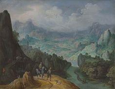Tobias Verhaecht (Antwerp 1561-1631) A mountainous river landscape with travellers on a path