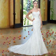 vestidos de novia para playa Lace Applique Sexy Sweetheart Sleeveless Sweep Train Mermaid Wedding Dress Custom Made