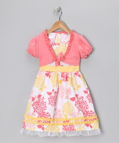 Take a look at this Coral & Yellow Hydrangea Dress & Shrug - Infant, Toddler & Girls by Longstreet on #zulily today!
