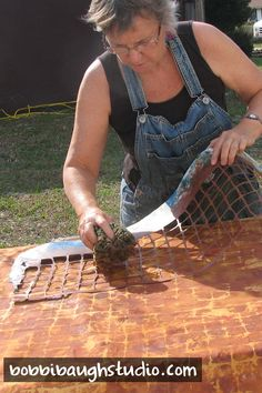 I often work on painting large fabric pieces outdoors on a wooden door on sawhorses. The warm morning sun makes working enjoyable. Acrylic paints plus my own hand-cut stencils plus a wet sponge application creates great fabric textures. Fabric Painting, Fabric Art, Fabric Crafts, Textile Fiber Art, Textile Artists, Textile Design, Fabric Design, Shibori, Fabric Textures