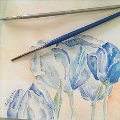 Tulipani blu-acquerello