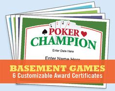 Get this 6-pack of certificates to recognize winners in various basement games including darts, table tennis and pool. Now, you can recognize the champ in your neck of the woods with these stylish certificate templates - they print out on 8.5 x 11 paper. Pick a nice stock for a higher quality appearance. Certificates include: - Pool Certificate - Darts Certificate - Foosball Certificate - Table Tennis Certificate - Texas Holdem Certificate - Poker Certificate