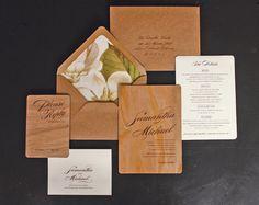 Vintage Magnolia Real Wood Wedding Invitation by oakandorchid
