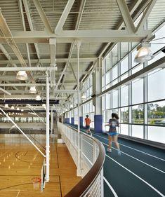 Georgia college & state university, student wellness & recreation c Gym Architecture, College Workout, College Fitness, Indoor Track, Georgia College, Gym Interior, Sports Complex, Roof Structure, Gym Design