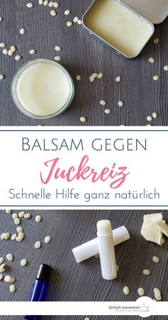 Balsam gegen Juckreiz A natural home remedy for itching through insect bites, sunburn, dry skin or allergies you can produce with just a few ingredients. The soothing DIY lotion nourishes the skin and thus promotes healing. E Cosmetics, Natural Cosmetics, Shampooing Diy, Sleek Make Up, Diy Beauté, Skin Care Masks, Diy Lotion, Insect Bites, Few Ingredients