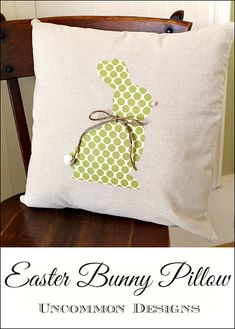 No Sew Easter Bunny Pillow.  Learn how to applique this easy bunny in no time!