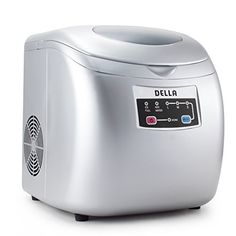 DELLA 048GM48221 Portable Ice Maker EasyTouch Buttons 26lb Per Day Countertop Machine 3 Selectable Cube Sizes Silver >>> Click on the image for additional details. (Note:Amazon affiliate link)