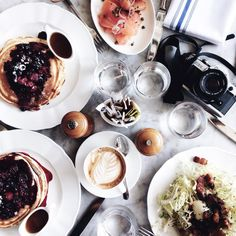"""""""Lemon, Blueberry Pancakes + Lattes.   What a beautiful day today has been roaming around Noho + what a pleasure it has been hanging out with these lovely…"""""""