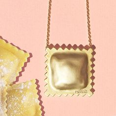 18K Plated Ravioli Pasta Necklace, Matte