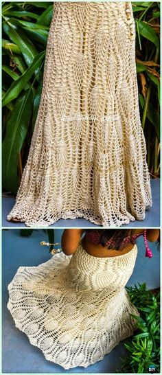 Crochet Devine Long Pineapple Skirt Free Pattern - Crochet Women Skirt Free Patterns