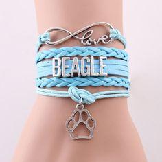 Infinity Love Beagle Paw Charm Bracelet