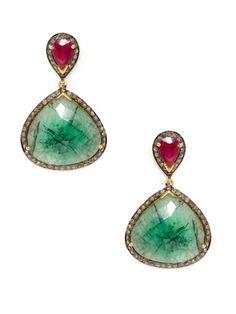 These are yummy! Amrapali Ruby & Emerald Double Teardrop Earrings